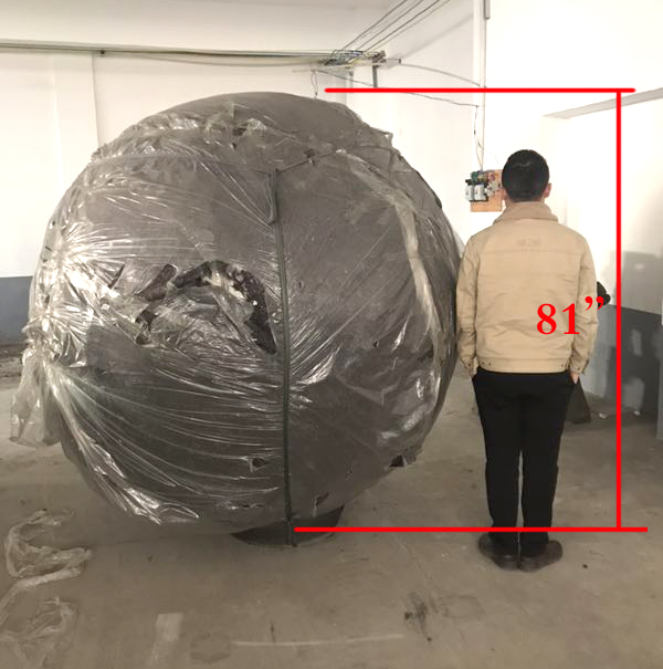 Stainless Fountain - 81 inch - Man size comparison